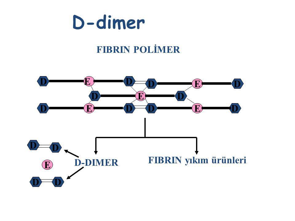 D-dimer Fibrinin plazminle parçalanması ile oluşan FYÜ olayın fibrin oluşumuna kadar gerçekleştiğine işaret akut trombozda D-dimer artmalıdır D-dimer