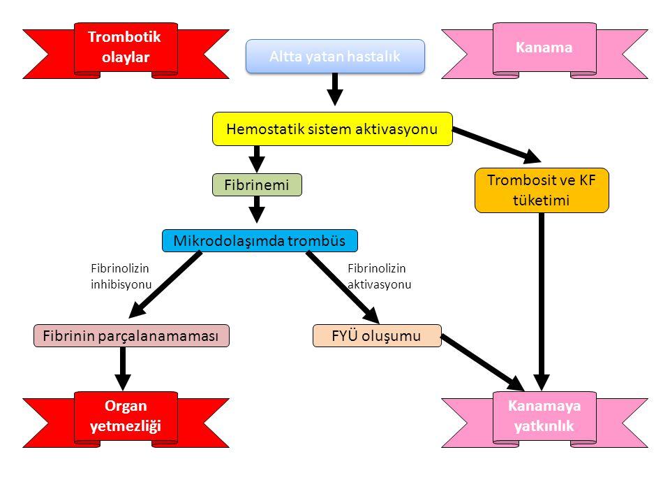 DIC Kazanılmış damar içi problemi Başlatıcı olay aktif koagülasyon sistemi Koagülasyonun aktivasyonu Damar içinde fibrin birikmesi Trombosit ve pıhtıl