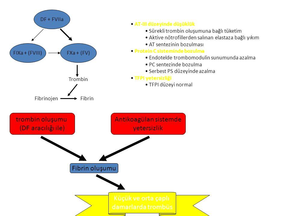 Trombotik olaylar Kanama Organ yetmezliği Kanamaya yatkınlık Altta yatan hastalık Hemostatik sistem aktivasyonu Trombosit ve KF tüketimi Fibrinemi Mik