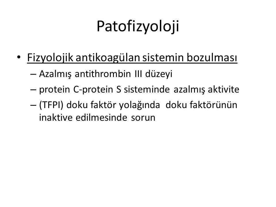 Patofizyoloji Koagülasyonun aktifleşmesi – Doku faktörü/ faktör VIIa trombin oluşmasına neden olur…..ekstrensek mekanizma çalışmaya başlar Daha sonra