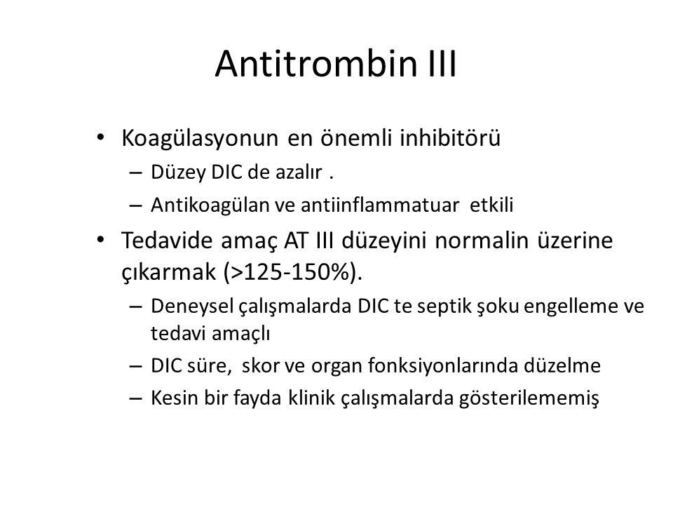 Koagülasyon Inhibitör Tedavisi Antithrombin III Protein C konsantratı (TFPI) Heparin