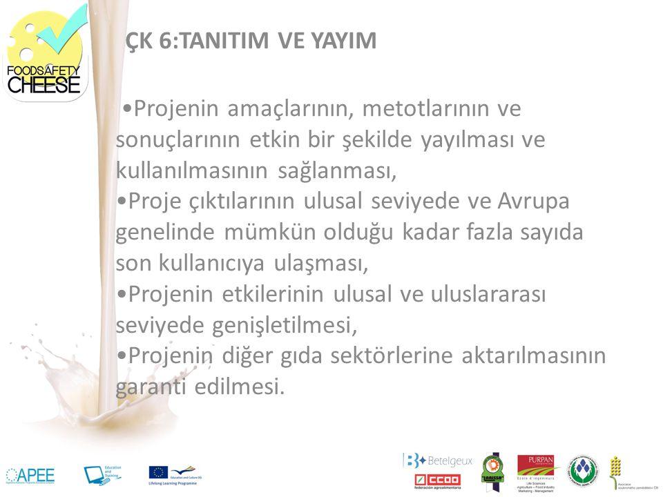 ÇK 6:TANITIM VE YAYIM Projenin amaçlarının, metotlarının ve sonuçlarının etkin bir şekilde yayılması ve kullanılmasının sağlanması, Proje çıktılarının ulusal seviyede ve Avrupa genelinde mümkün olduğu kadar fazla sayıda son kullanıcıya ulaşması, Projenin etkilerinin ulusal ve uluslararası seviyede genişletilmesi, Projenin diğer gıda sektörlerine aktarılmasının garanti edilmesi.