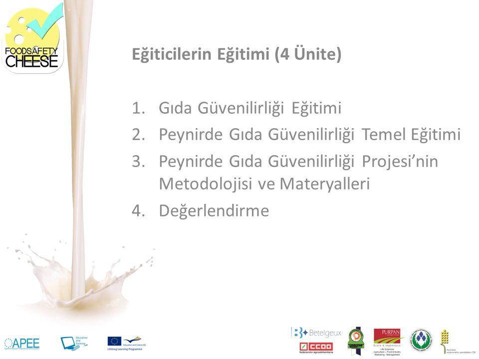 Eğiticilerin Eğitimi (4 Ünite) 1.Gıda Güvenilirliği Eğitimi 2.Peynirde Gıda Güvenilirliği Temel Eğitimi 3.Peynirde Gıda Güvenilirliği Projesi'nin Metodolojisi ve Materyalleri 4.Değerlendirme