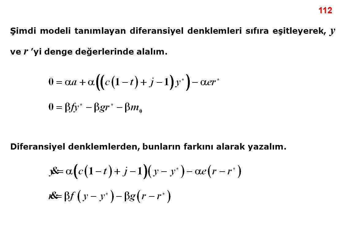 112 Şimdi modeli tanımlayan diferansiyel denklemleri sıfıra eşitleyerek, y ve r 'yi denge değerlerinde alalım. Diferansiyel denklemlerden, bunların fa