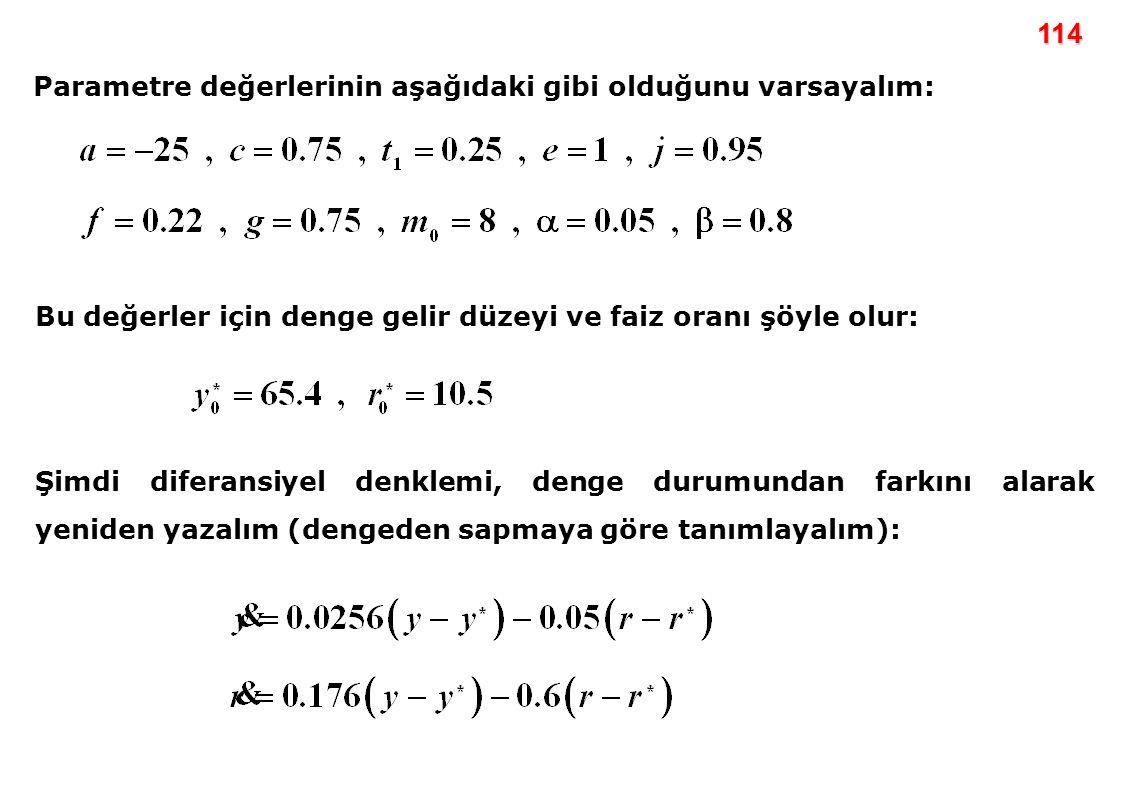 114 Parametre değerlerinin aşağıdaki gibi olduğunu varsayalım: Bu değerler için denge gelir düzeyi ve faiz oranı şöyle olur: Şimdi diferansiyel denkle