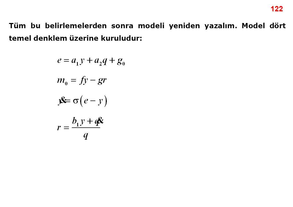 122 Tüm bu belirlemelerden sonra modeli yeniden yazalım. Model dört temel denklem üzerine kuruludur: