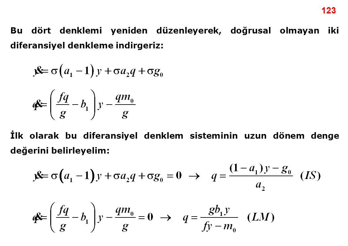 123 Bu dört denklemi yeniden düzenleyerek, doğrusal olmayan iki diferansiyel denkleme indirgeriz: İlk olarak bu diferansiyel denklem sisteminin uzun d