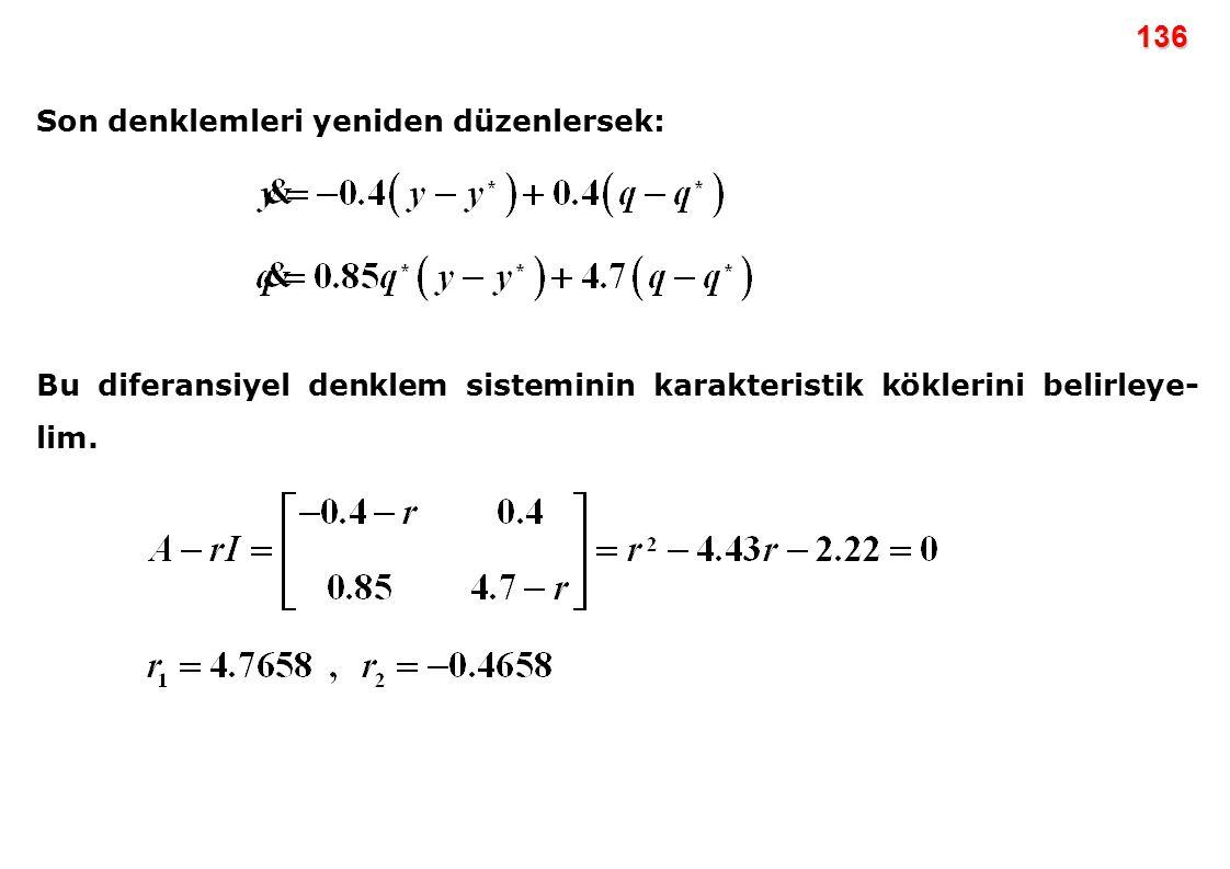 136 Son denklemleri yeniden düzenlersek: Bu diferansiyel denklem sisteminin karakteristik köklerini belirleye- lim.
