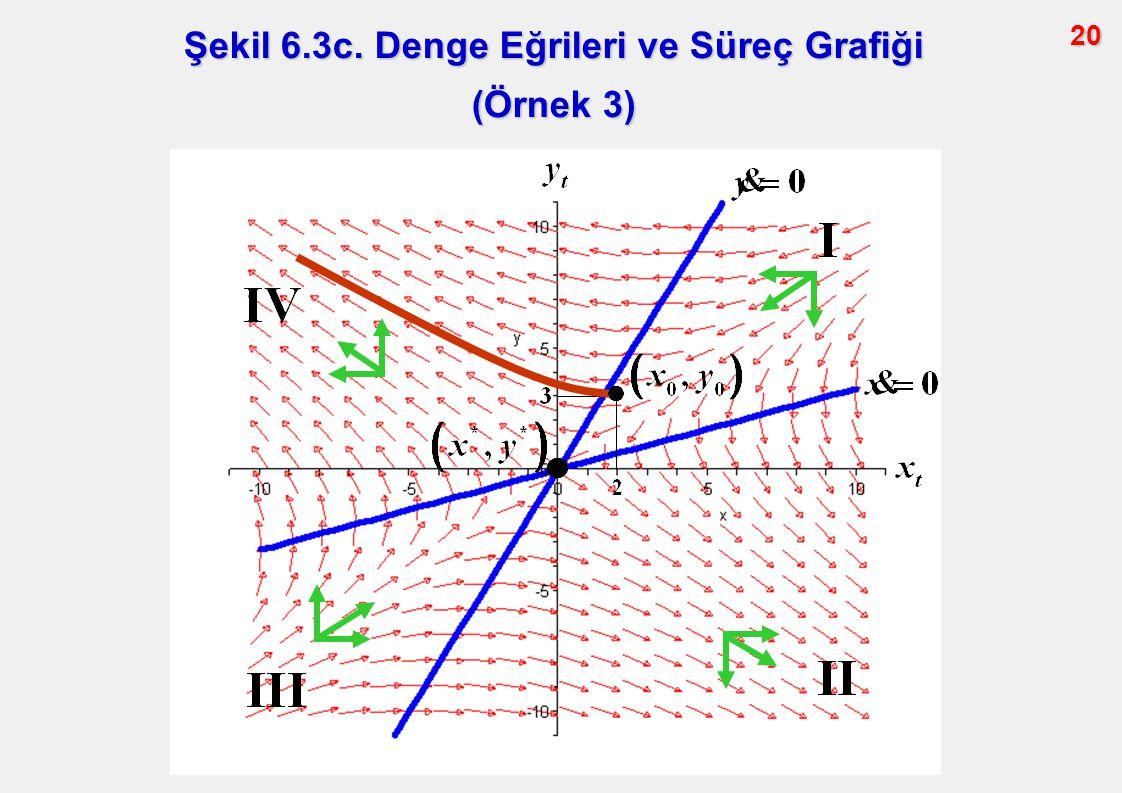 20 Şekil 6.3c. Denge Eğrileri ve Süreç Grafiği (Örnek 3)