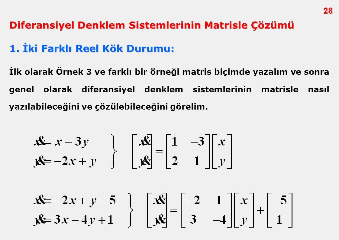 28 İlk olarak Örnek 3 ve farklı bir örneği matris biçimde yazalım ve sonra genel olarak diferansiyel denklem sistemlerinin matrisle nasıl yazılabilece