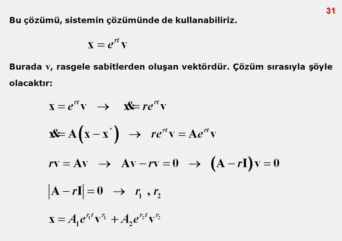 31 Bu çözümü, sistemin çözümünde de kullanabiliriz. Burada v, rasgele sabitlerden oluşan vektördür. Çözüm sırasıyla şöyle olacaktır: