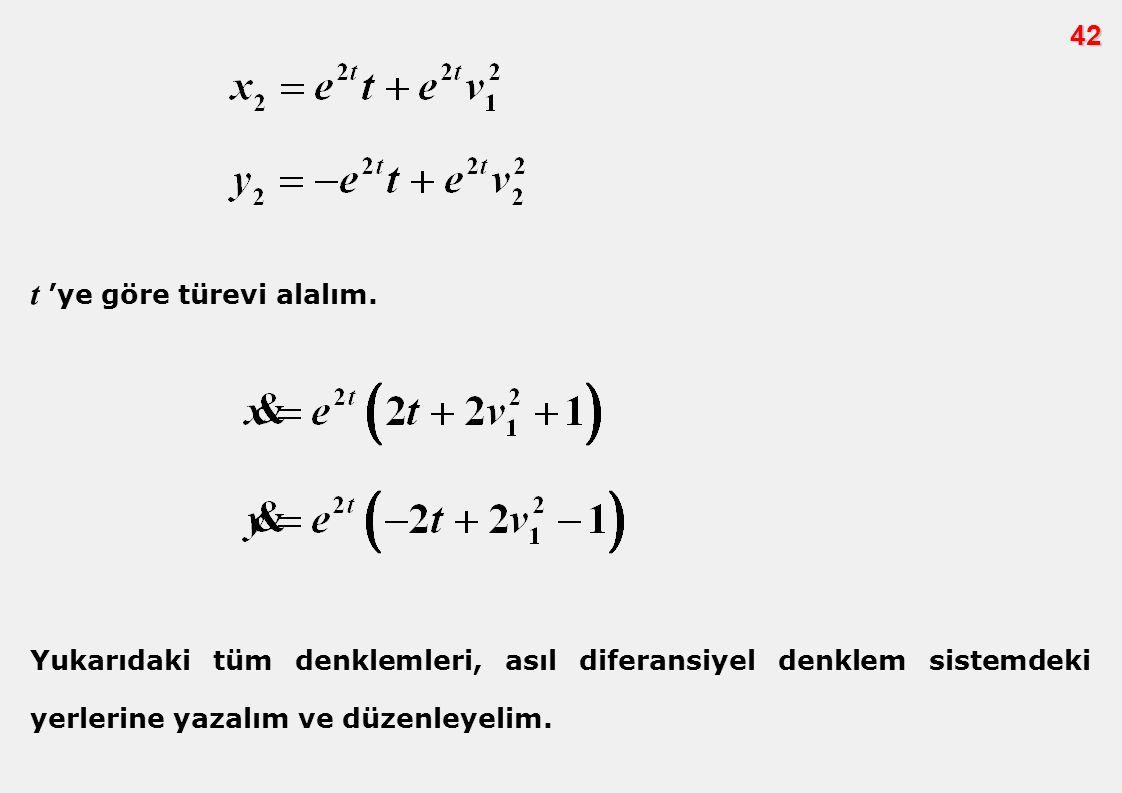 42 t 'ye göre türevi alalım. Yukarıdaki tüm denklemleri, asıl diferansiyel denklem sistemdeki yerlerine yazalım ve düzenleyelim.
