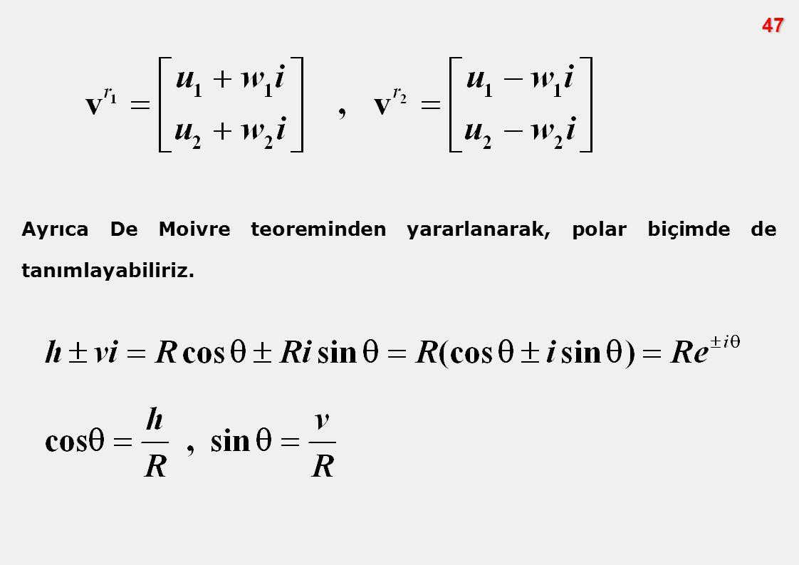 47 Ayrıca De Moivre teoreminden yararlanarak, polar biçimde de tanımlayabiliriz.