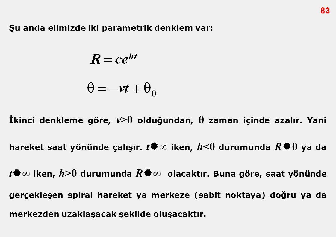 83 Şu anda elimizde iki parametrik denklem var: İkinci denkleme göre, v>0 olduğundan, θ zaman içinde azalır. Yani hareket saat yönünde çalışır. t  ∞