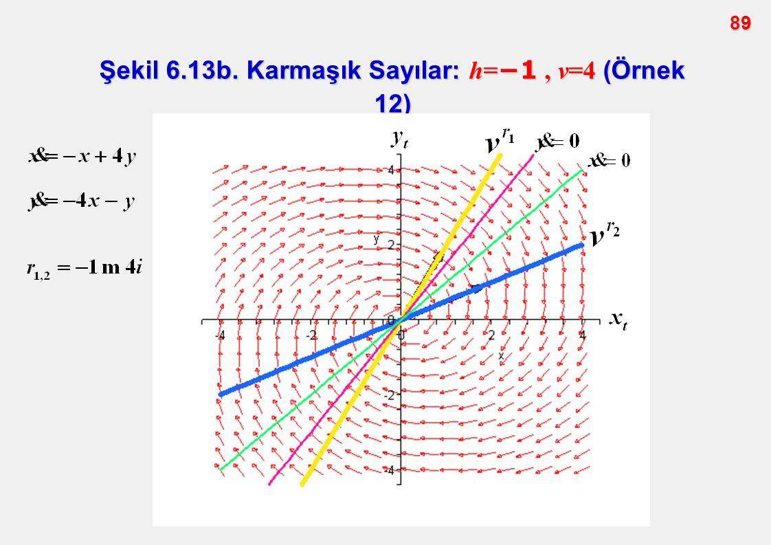 89 Şekil 6.13b. Karmaşık Sayılar: h= −1, v=4 (Örnek 12)