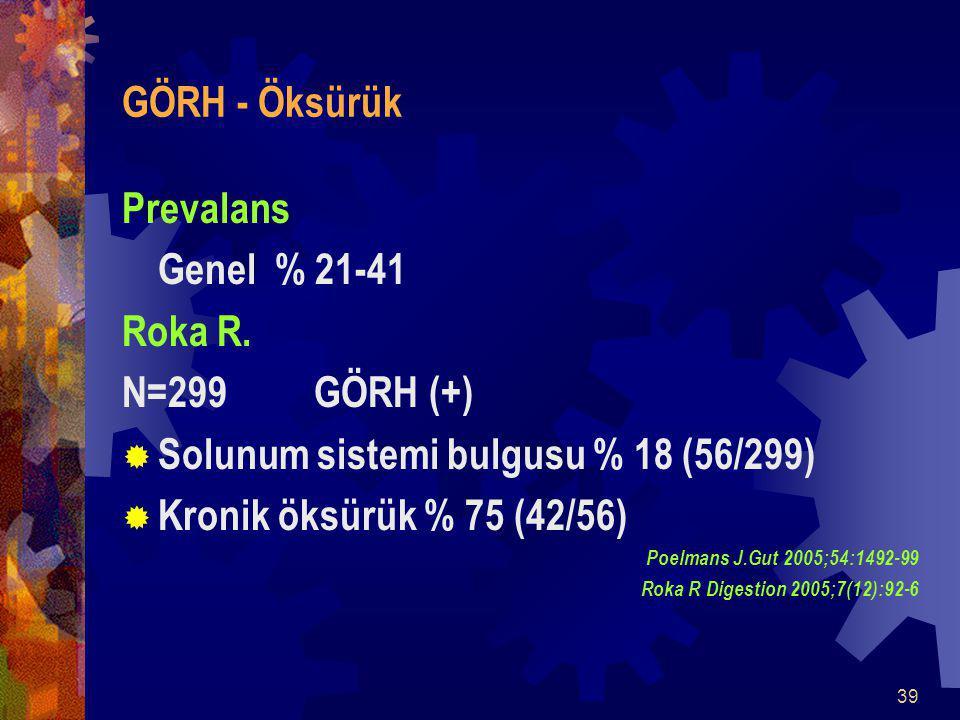 39 GÖRH - Öksürük Prevalans Genel % 21-41 Roka R.