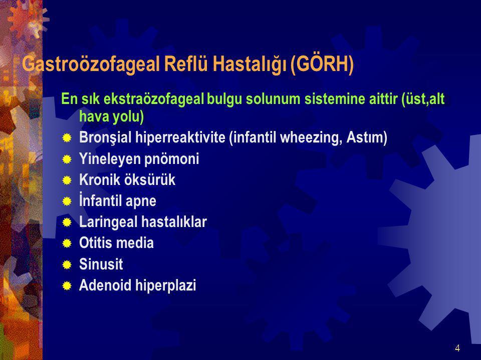 4 Gastroözofageal Reflü Hastalığı (GÖRH) En sık ekstraözofageal bulgu solunum sistemine aittir (üst,alt hava yolu)  Bronşial hiperreaktivite (infantil wheezing, Astım)  Yineleyen pnömoni  Kronik öksürük  İnfantil apne  Laringeal hastalıklar  Otitis media  Sinusit  Adenoid hiperplazi