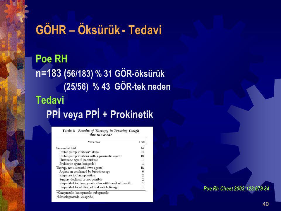 40 GÖHR – Öksürük - Tedavi Poe RH n=183( 56/183) % 31 GÖR-öksürük (25/56) % 43 GÖR-tek neden Tedavi PPİ veya PPİ + Prokinetik Poe Rh Chest 2003:123:679-84