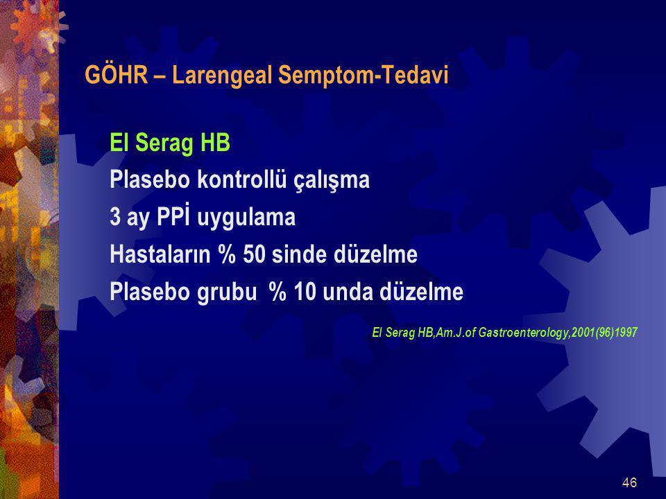 46 GÖHR – Larengeal Semptom-Tedavi El Serag HB Plasebo kontrollü çalışma 3 ay PPİ uygulama Hastaların % 50 sinde düzelme Plasebo grubu % 10 unda düzelme El Serag HB,Am.J.of Gastroenterology,2001(96)1997