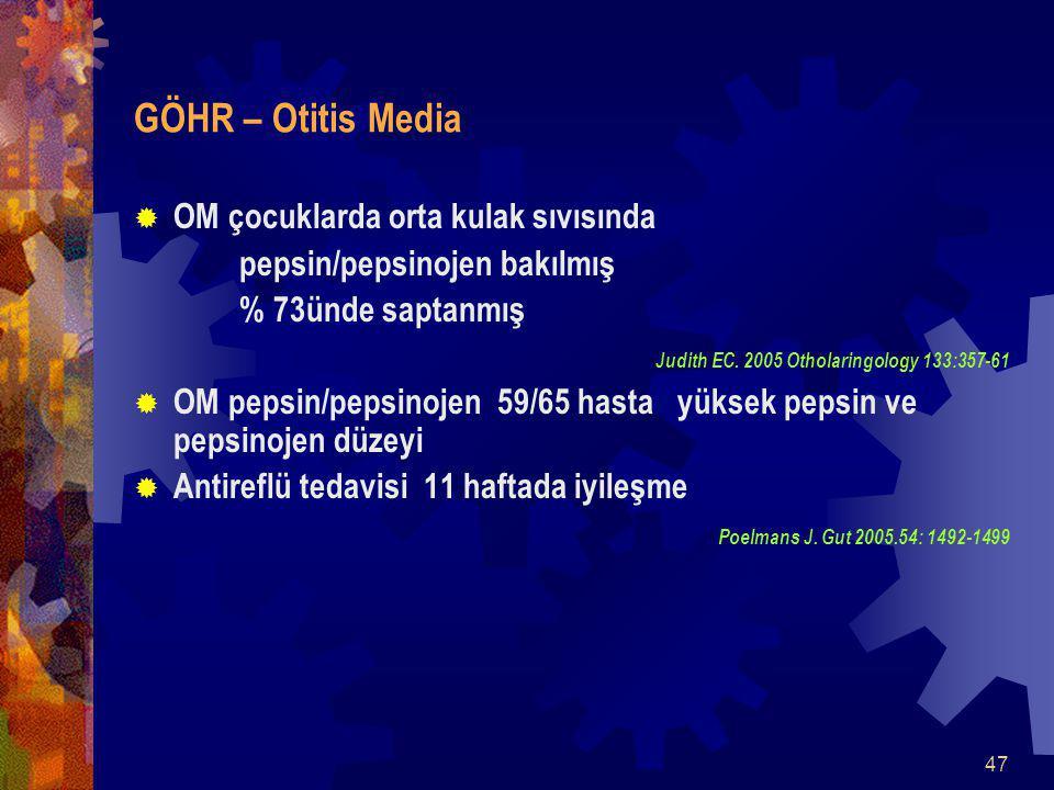 47 GÖHR – Otitis Media  OM çocuklarda orta kulak sıvısında pepsin/pepsinojen bakılmış % 73ünde saptanmış Judith EC.
