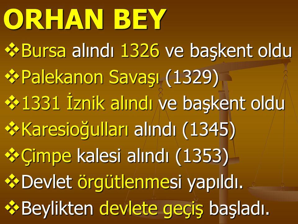 ORHAN BEY  Bursa alındı 1326 ve başkent oldu  Palekanon Savaşı (1329)  1331 İznik alındı ve başkent oldu  Karesioğulları alındı (1345)  Çimpe kal