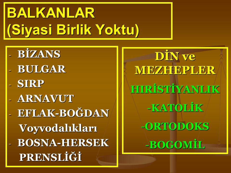 BALKANLAR (Siyasi Birlik Yoktu) - BİZANS - BULGAR - SIRP - ARNAVUT - EFLAK-BOĞDAN Voyvodalıkları Voyvodalıkları - BOSNA-HERSEK PRENSLİĞİ PRENSLİĞİ DİN
