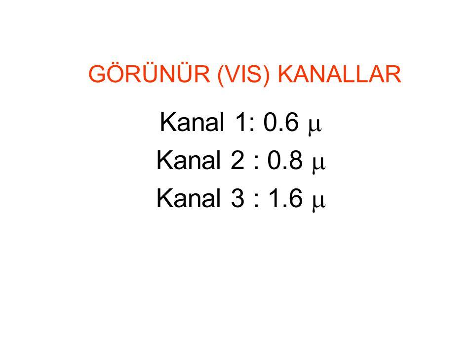 GÖRÜNÜR (VIS) KANALLAR Kanal 1: 0.6  Kanal 2 : 0.8  Kanal 3 : 1.6 