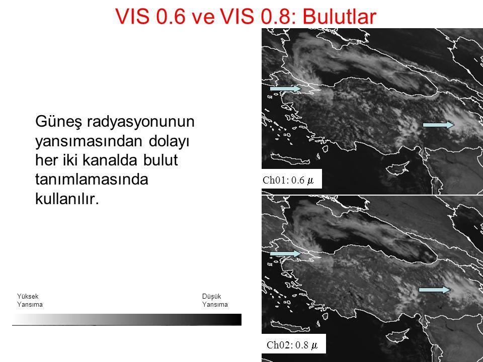 VIS 0.6 ve VIS 0.8: Bulutlar Güneş radyasyonunun yansımasından dolayı her iki kanalda bulut tanımlamasında kullanılır. Ch01: 0.6  Ch02: 0.8  Yüksek