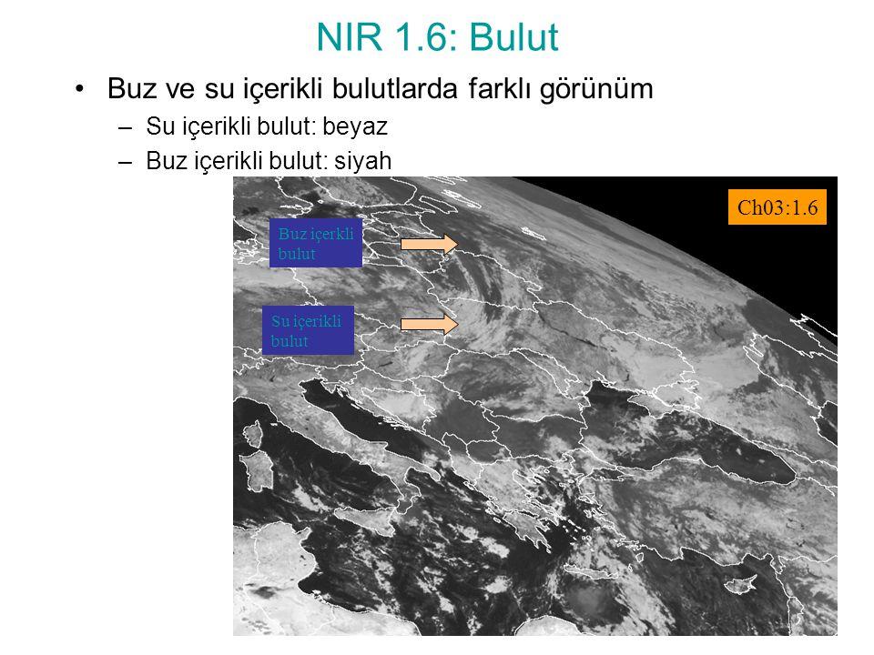 NIR 1.6: Bulut Buz ve su içerikli bulutlarda farklı görünüm –Su içerikli bulut: beyaz –Buz içerikli bulut: siyah Buz içerkli bulut Su içerikli bulut C