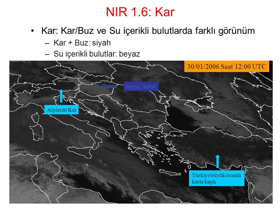NIR 1.6: Kar Kar: Kar/Buz ve Su içerikli bulutlarda farklı görünüm –Kar + Buz: siyah –Su içerikli bulutlar: beyaz Alplerde Kar beyaz : bulut Türkiye b