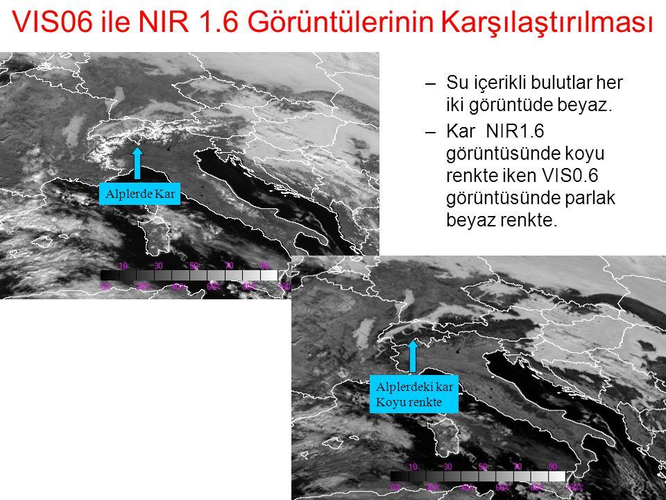 VIS06 ile NIR 1.6 Görüntülerinin Karşılaştırılması Alplerde Kar Alplerdeki kar Koyu renkte –Su içerikli bulutlar her iki görüntüde beyaz. –Kar NIR1.6
