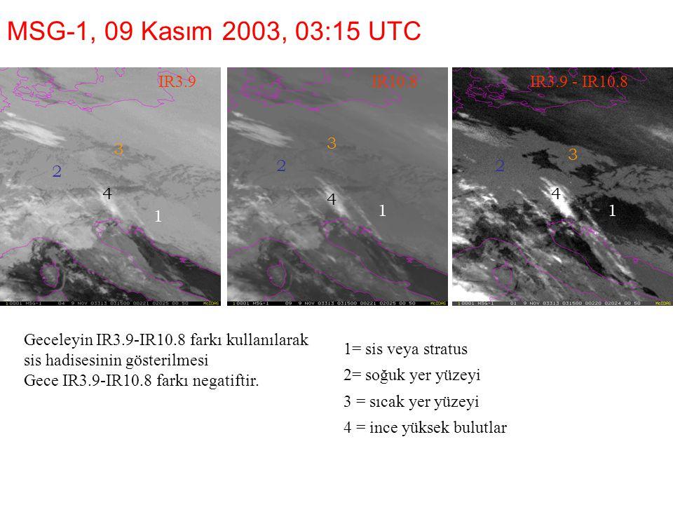 1=sis veya stratus 2=soğuk yer yüzeyi 3 = sıcak yer yüzeyi 4 = ince yüksek bulutlar MSG-1, 09 Kasım 2003, 03:15 UTC IR3.9 Geceleyin IR3.9-IR10.8 farkı