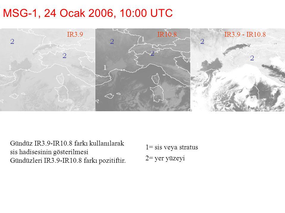1=sis veya stratus 2=yer yüzeyi MSG-1, 24 Ocak 2006, 10:00 UTC IR3.9 Gündüz IR3.9-IR10.8 farkı kullanılarak sis hadisesinin gösterilmesi Gündüzleri IR