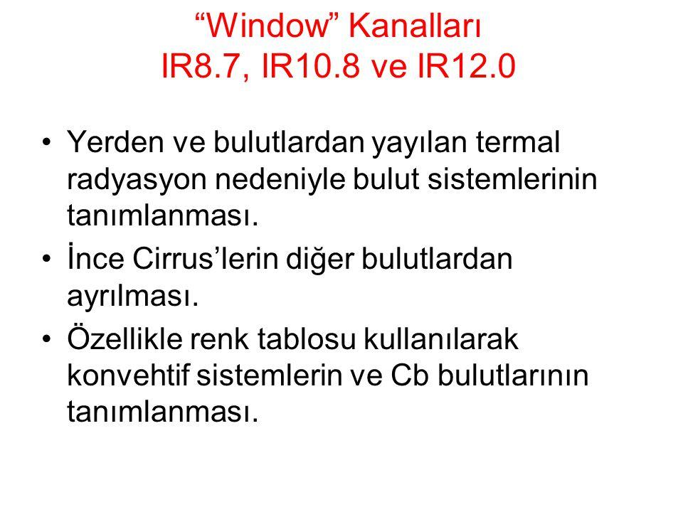 """""""Window"""" Kanalları IR8.7, IR10.8 ve IR12.0 Yerden ve bulutlardan yayılan termal radyasyon nedeniyle bulut sistemlerinin tanımlanması. İnce Cirrus'leri"""