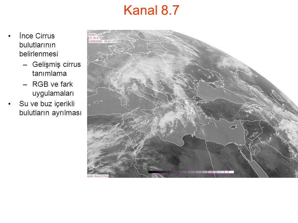 Kanal 8.7 İnce Cirrus bulutlarının belirlenmesi –Gelişmiş cirrus tanımlama –RGB ve fark uygulamaları Su ve buz içerikli bulutların ayrılması
