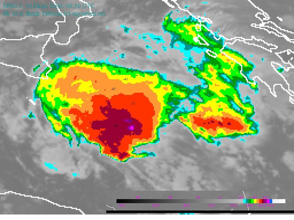 MSG 1, 16 Ekim 2006, 06:30 UTC IR 10.8, Renk Tablosu:ir1-myseven.txt -60 -55 -45 -40 -65