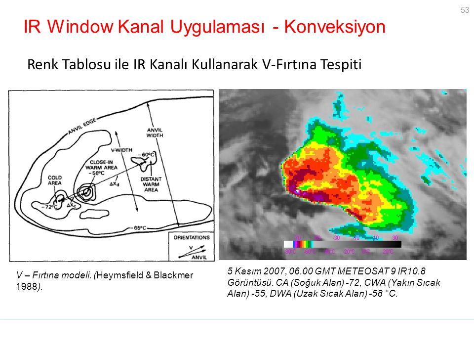 53 IR Window Kanal Uygulaması - Konveksiyon Renk Tablosu ile IR Kanalı Kullanarak V-Fırtına Tespiti 5 Kasım 2007, 06.00 GMT METEOSAT 9 IR10.8 Görüntüs
