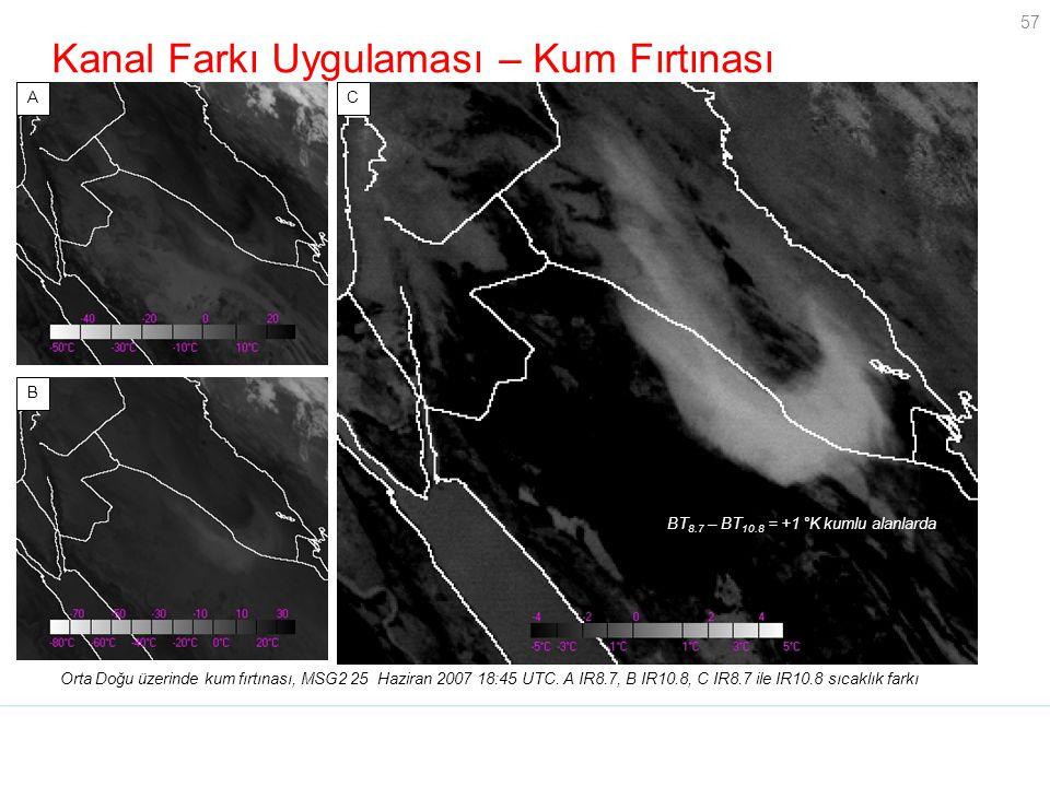 57 Kanal Farkı Uygulaması – Kum Fırtınası Orta Doğu üzerinde kum fırtınası, MSG2 25 Haziran 2007 18:45 UTC. A IR8.7, B IR10.8, C IR8.7 ile IR10.8 sıca