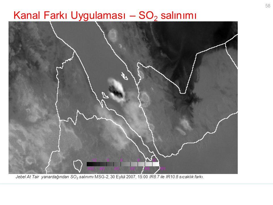 58 Kanal Farkı Uygulaması – SO 2 salınımı Jebel At Tair yanardağından SO 2 salınımı MSG-2, 30 Eylül 2007, 15:00 IR8.7 ile IR10.8 sıcaklık farkı. BT 8.