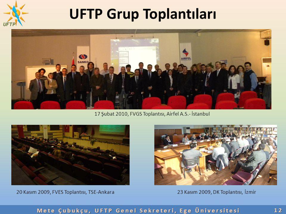 UFTP Grup Toplantıları 12 Mete Çubukçu, UFTP Genel Sekreteri, Ege Üniversitesi 20 Kasım 2009, FVES Toplantısı, TSE-Ankara23 Kasım 2009, DK Toplantısı,