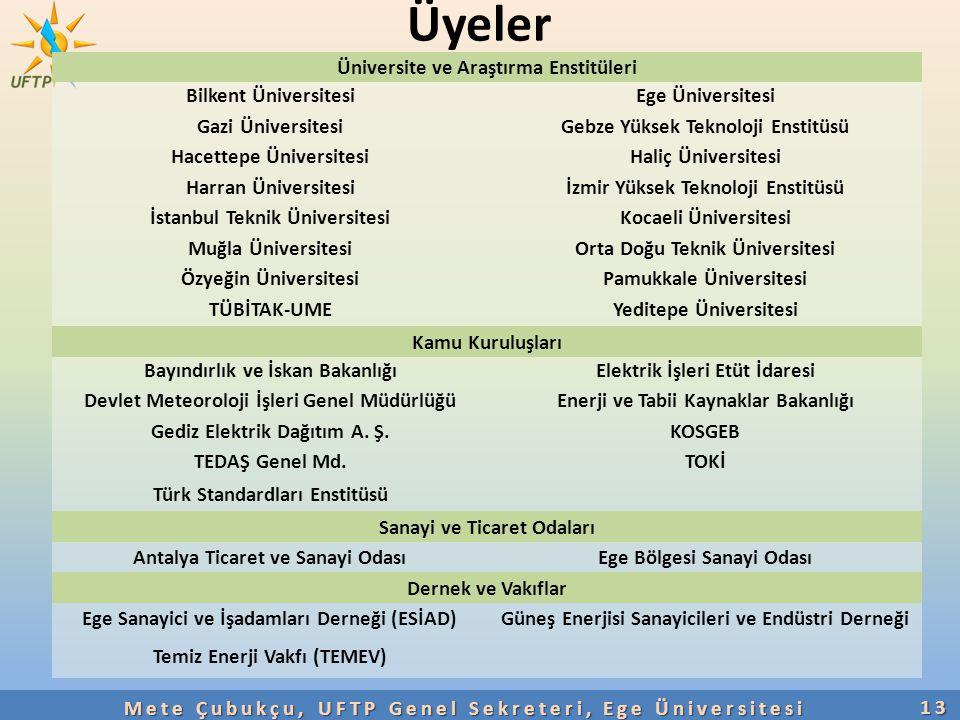Üyeler 13 Üniversite ve Araştırma Enstitüleri Bilkent ÜniversitesiEge Üniversitesi Gazi ÜniversitesiGebze Yüksek Teknoloji Enstitüsü Hacettepe Ünivers