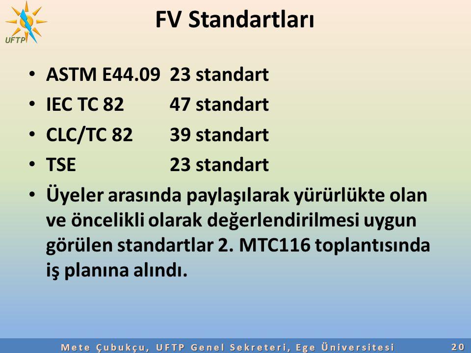 FV Standartları ASTM E44.09 23 standart IEC TC 8247 standart CLC/TC 8239 standart TSE 23 standart Üyeler arasında paylaşılarak yürürlükte olan ve önce