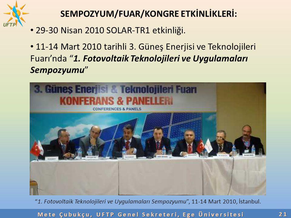 """21 SEMPOZYUM/FUAR/KONGRE ETKİNLİKLERİ: 29-30 Nisan 2010 SOLAR-TR1 etkinliği. 11-14 Mart 2010 tarihli 3. Güneş Enerjisi ve Teknolojileri Fuarı'nda """"1."""