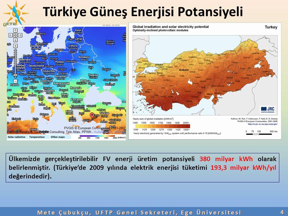 Türkiye Güneş Enerjisi Potansiyeli4 Ülkemizde gerçekleştirilebilir FV enerji üretim potansiyeli 380 milyar kWh olarak belirlenmiştir. (Türkiye'de 2009
