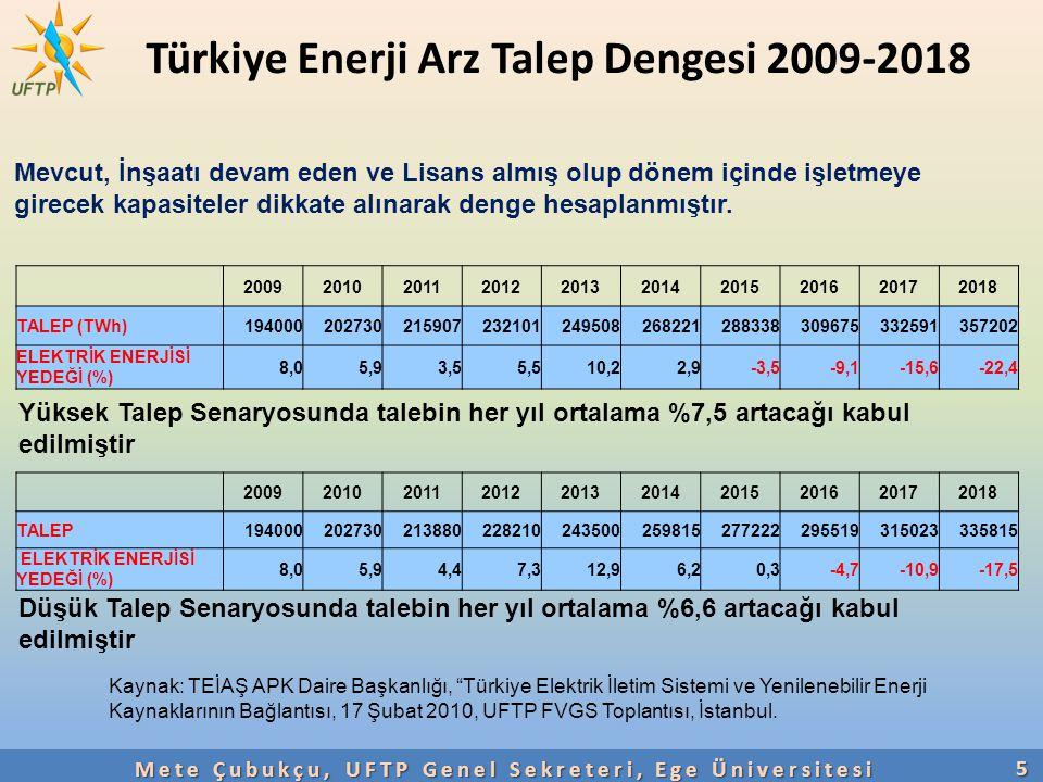 """Türkiye Enerji Arz Talep Dengesi 2009-2018 5 Kaynak: TEİAŞ APK Daire Başkanlığı, """"Türkiye Elektrik İletim Sistemi ve Yenilenebilir Enerji Kaynaklarını"""