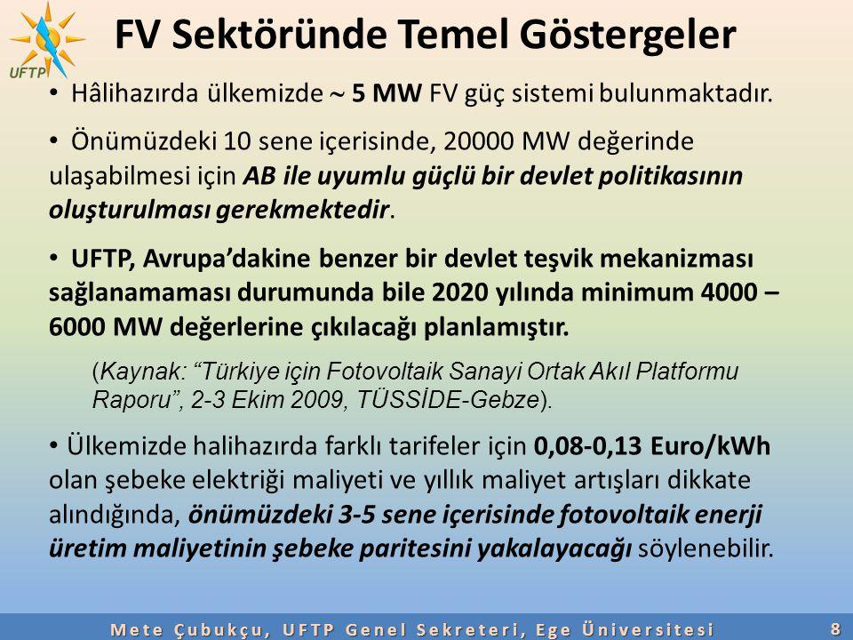 FV Sektöründe Temel Göstergeler8 Mete Çubukçu, UFTP Genel Sekreteri, Ege Üniversitesi Hâlihazırda ülkemizde  5 MW FV güç sistemi bulunmaktadır. Önümü