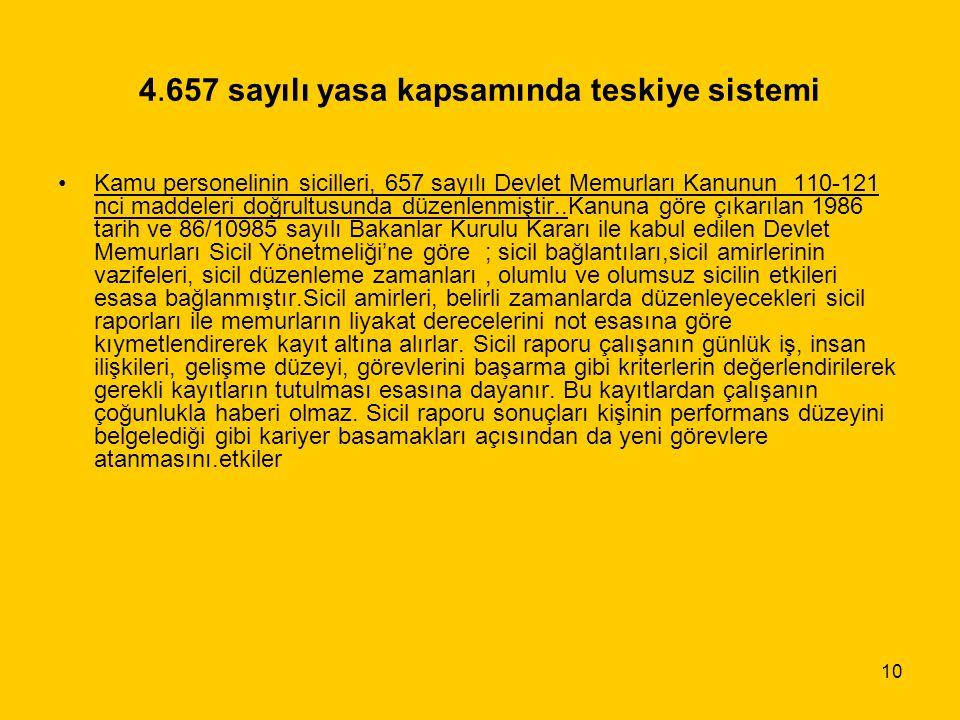 10 4.657 sayılı yasa kapsamında teskiye sistemi Kamu personelinin sicilleri, 657 sayılı Devlet Memurları Kanunun 110-121 nci maddeleri doğrultusunda d