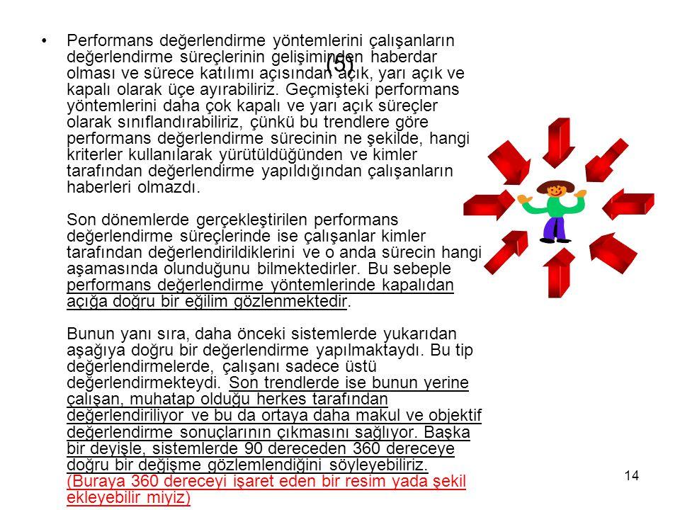 14 (5) Performans değerlendirme yöntemlerini çalışanların değerlendirme süreçlerinin gelişiminden haberdar olması ve sürece katılımı açısından açık, y