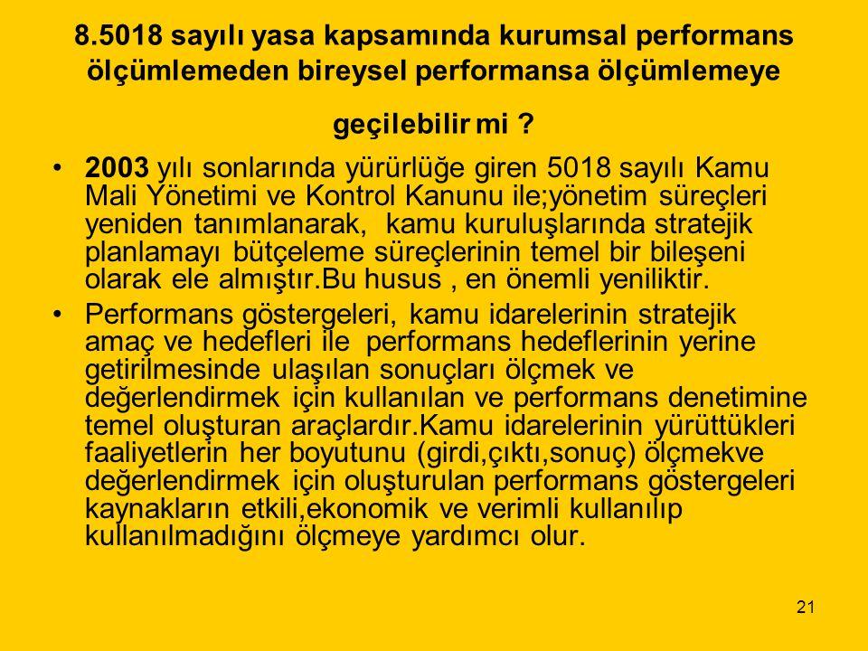 21 8.5018 sayılı yasa kapsamında kurumsal performans ölçümlemeden bireysel performansa ölçümlemeye geçilebilir mi ? 2003 yılı sonlarında yürürlüğe gir