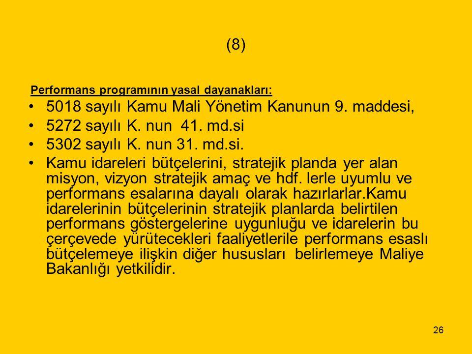 26 (8) Performans programının yasal dayanakları: 5018 sayılı Kamu Mali Yönetim Kanunun 9. maddesi, 5272 sayılı K. nun 41. md.si 5302 sayılı K. nun 31.